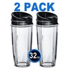 ELEFOCUS 2 Pack 32oz Cups for Nutri Ninja 32oz cup with 2 Sip Seal Lids Fits BL480?? BL490?? BL640??