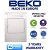 BEKO - 7KG VENTED DRYER MODEL: DRVS73W - 3 YEARS WARRANTY - FREE DELIVERY AND INSTALLATION!