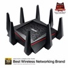 ASUS RT-AC5300 Tri-Band Gigabit WiFi Gaming Router with MU-MIMO, supporting AiProtection network security powered by Trend Micro, built-in WTFast game accelerator and Adaptive QoS