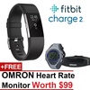 Fitbit Charge 2 Heart Rate Fitness Wristband + Free Omron Heart rate Monitor