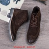 Martin boots men's Brock high shoes Japanese retro suede carved pointed tide boo
