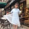 Men's high top bootsMartin bootsGirls dress ins summer sling han edition white gauze students loose