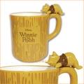 asdfkitty可愛家☆迪士尼小熊維尼立體造型把手陶瓷馬克杯-睡姿杯緣子-日本正版商品