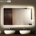 BOLEN壁掛浴室鏡子led燈鏡智慧藍芽高清衛浴鏡無框衛生間鏡防霧鏡   LannaS