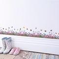 %《新品促銷 熱賣》紫色花邊踢腳板 蝴蝶 蝴蝶花 薰衣草牆貼 兒童壁畫 DIY 3d效果牆貼花家居裝飾PVC小孩裝飾禮品