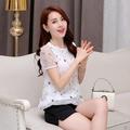 [E31]👚夏季短袖雪紡上衣 韓版刺繡短款內搭衣 夏天寬鬆蕾絲上衣
