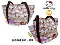 叉叉日貨 Hello Kitty凱蒂貓拿花束滿版托特包購物袋M 日本正版【KT20700】特價