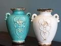 地中海法式鄉村大氣白色雙耳雕花花瓶復古