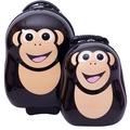 【英國cuties and pals】16吋蛋型輕硬殼兒童專屬旅行箱+13吋背包組(黑猩猩)