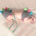 滿月百日宴服裝 針織毛衣套裝 立體彩色恐龍造型 兒童攝影服裝 寶寶連身爬服 嬰兒照相衣服