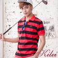 【Kilei】休閒撞色橫條紋POLO衫XA1450(搶眼紅黑)賠售特價