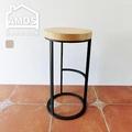 【Amos】工業風實木圓形高腳吧檯椅