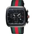 GUCCI 古馳 Coupe 古馳復刻美學計時腕錶-黑x紅綠/44mm YA131202