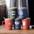 εїз  復仇者聯盟系列創意馬克杯 εїз  帶蓋帶勺大容量馬克杯  磨砂陶瓷杯咖啡杯