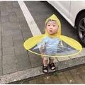 抖音防雨神器兒童創意雨帽飛碟傘無柄雨帽子黃鴨子雨衣雨披釣魚傘