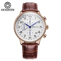 [OCHSTIN奧古斯登]瑞士男士真三眼石英手錶 頂級品牌豪華真皮防水商務石英表 男士運動手錶 日曆秒錶 现货