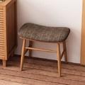 現代簡約實木布面穿鞋椅-原木色