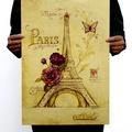 懷舊復古經典牛皮紙海報壁貼咖啡館裝飾畫仿舊掛畫●世界建築地標系列-巴黎艾菲爾鐵塔A款