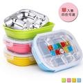 【PUSH! 餐具用品】304不銹鋼保溫飯盒便當盒防燙餐盤盒成人小孩5格款(E88)