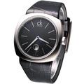 【CK】經典都會條紋休閒皮帶錶(黑)