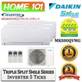 Daikin Dual Split Smile Series Aircon [System 3] Avaliable in MKS80QVMG [CTKS25 (1 HP) x 3] WITH *Replacement Services*