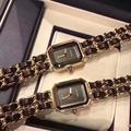 CHANEL香奈兒PREMIERE首映場經典黑面金鍊黑帶腕錶 奢華時尚手錶 Chanel 鏈條錶 編織帶手錶
