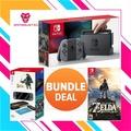 Nintendo Switch Console Bundle WithNintendo Switch The Legend Of Zelda Breath Of Wild + Hori Zelda Starter Kit (GREY/NEON)(1 Year local warranty)
