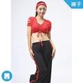 紅黑色系雙色運動長褲(B4011)台南瑜珈韻律服專賣店