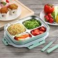 PUSH! 餐具用品304不銹鋼保溫飯盒便當盒防燙餐盤盒4格環保款附餐具E97