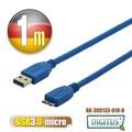 曜兆DIGITUS USB3.0A公轉microB公線*1公尺藍色