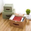 二件套 布藝亞麻收納盒 可折疊收納箱 有蓋整理箱