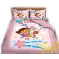 ==YvH==正版卡通~DORA 朵拉 森林玩伴 粉色 單人床包枕套組 台灣製造