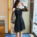 短袖洋裝正式場合簡單大方派對聚會宴會小禮服黑色顯瘦氣質性感露肩 曼莎時尚