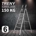 【TRENY直營】TRENY 工作台六階 鋁梯 荷重150公斤 防滑 鋁合金 工作梯 扶手梯 A字梯 梯子 0974