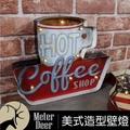 美式復古流行立體鐵牌hot coffee造型led氣氛壁飾燈工業風鐵皮畫牆面設計裝飾掛畫咖啡廳餐廳懷舊掛飾-米鹿家居