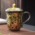 【XJJ】陶福氣 黃金天目釉油滴盞辦公杯 家用建盞黃金入釉水杯帶蓋茶杯