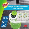 3M Scotch Brite Compact Single Bucket Spin Mop + 2 Mop Refill