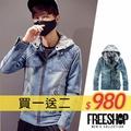 《Free Shop》Free Shop【QTJD13】買一送二(圍巾+上衣) 層次感連帽可拆水洗刷色連帽丹寧外套‧藍色 有大尺碼