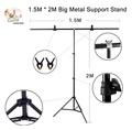 1.5M * 2M Big Photography Studio Video Metal Support Stand System Kit Set W/ Crossbar Clamps 2 * Clamps for PVC Backdrop Background ชุดกล้องถ่ายภาพขนาด 1.5เมตร * 2เมตร. รองรับแท่นวางเหล็กและปากกาจับ 2 * สำหรับ PVC ฉากหลัง