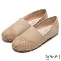 DIANA 漫步雲端冰淇淋款--拼接麻布編織民族風懶人鞋-米7108-16