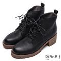 DIANA俐落率性—真皮綁帶粗跟短靴-黑