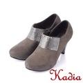 Kadia.時尚高貴方鑽高跟踝靴-灰