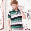 【Kilei】百搭撞色條紋POLO衫XA1449-06(自信綠)賠售特價