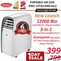 *Energy Saving* EuropAce Portable AirCon 12000 BTU (EPAC 12T3) - 6 years compressor warranty