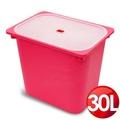 WallyFun 屋麗坊 亮彩儲物收納盒30L (紅)