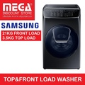 SAMSUNG WR24M9940KV FLEXWASH 21KG FRONT LOAD/ 3.5KG TOP LOAD WASHER