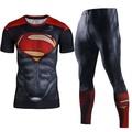 Men Compression Shirt Men 3D Printed Pattern Superman Workout Compression Tights Gym Fitness TShirt Pants Quick Dry Sets(Superred) - intl