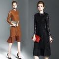 歐風KEITH-WILL 秋冬巴黎時尚蕾絲簍空拼接三宅壓折風洋裝
