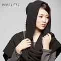 peppy day駝羊毛連帽仿手鉤粗針織麻花辮保暖圍巾/披肩(2色可選)