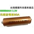 8AH/LI-FE/38120/磷酸/鋰鐵/汽車/電動腳踏車/電動摩托車/台灣製造/電池/3.3v